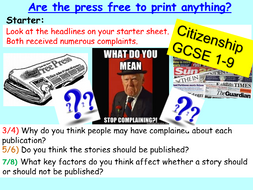 Citizenship GCSE Free Press: Media