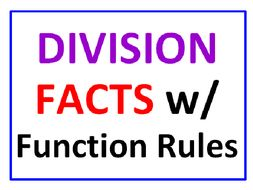 Division Facts with Function Rules 100 FACTS