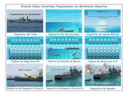 Movement Prepositions Spanish PowerPoint Battleship Game
