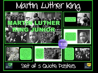 Set of 5 Martin Luther King Quotes Posters - Ideal for Martin Luther King Day