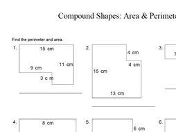 gcse maths worksheet area and perimeter of compound shapes by  gcse maths worksheet area and perimeter of compound shapes
