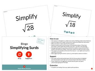 Simplifying Surds (Bingo)