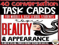 Conversation Starter Cards   Beauty   Social Skills Development for Middle&High