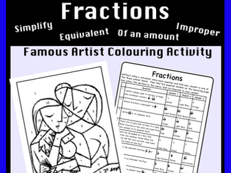 Fractions Review - Colour by Number Activity