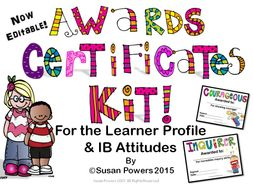 Editable Awards Certificates for the IB PYP Learner Profile and Attitudes