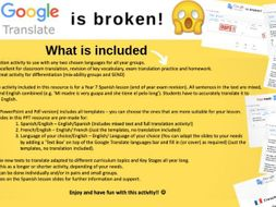 Google Translate is broken! - TRANSLATION ACTIVITY-MFL