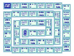 Numbers Cardinal and Ordinal Board Game