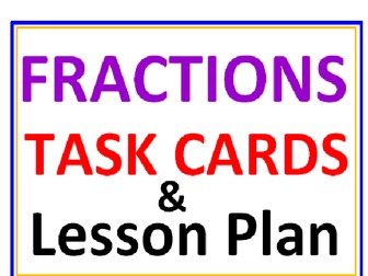 Fractions Task Cards with Lesson Plan