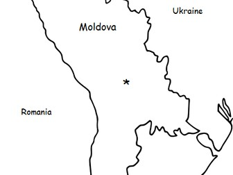 MOLDOVA - Printable handout with simple map and flag