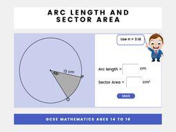 Sector area and arc length - GCSE