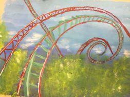 Fairground ride paintings with stippling and mark making  power point