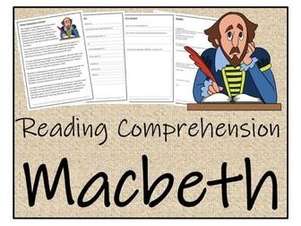 UKS2 Literacy - Macbeth Reading Comprehension Activity