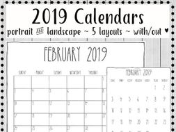 2019 Printable Calendars Minimalist Design By Gottaluvitcreations