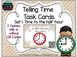Time Task Cards Set 1: Time to the Half Hour: 1st Grade CC: Tell and Write Time