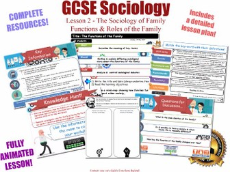 The Functions of The Family - The Sociology of Family - L2/20  [ WJEC EDUQAS GCSE Sociology ] NEW