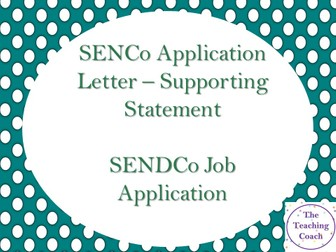 SENDCo SENCo SEN Special Education Support | Example Supporting Application Covering Letter