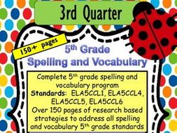 5th Grade Spelling and Vocabulary-  Complete Program-  Common Core Aligned-  Quarter Three