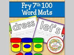 Sight Word Mats:  Fry 7th 100 Word Mats – Color