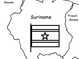 SURINAME - Printable handout with map and flag