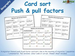 Geography - push and pull factor card sort activity sheet