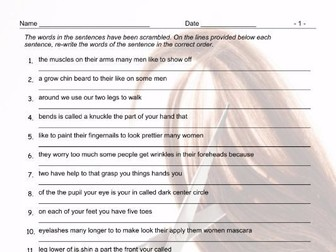 Body Parts Scrambled Sentences Worksheet