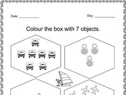 color the boxes with 7 objects