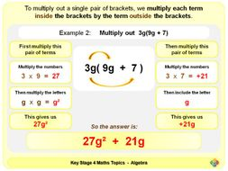 Multiplying out a Single Pair of Brackets KS4