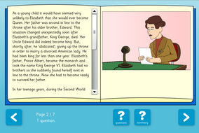 About Queen Elizabeth II Interactive Information Book and Questions - Reading Level C - KS1