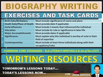 BIOGRAPHY WRITING: EXERCISES AND TASK CARDS