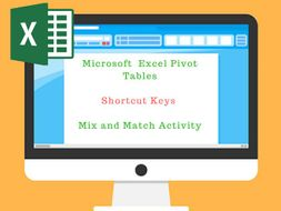 Pivot Tables Shortcut keys Mix n Match Activity
