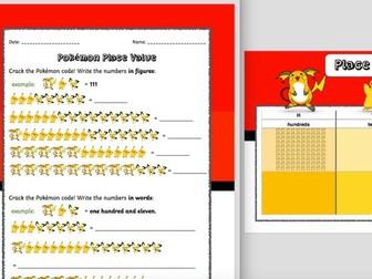 Pokémon HTU Place Value Table, Place Value Worksheet and Code Breaking Worksheet