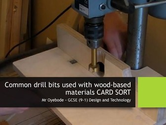 Common drill bits used with wood-based materials CARD SORT