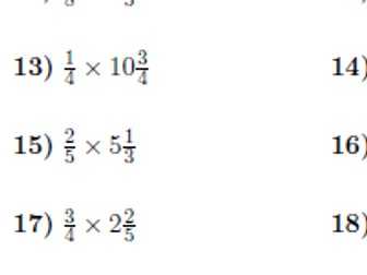Multiplication between fractions and mixed numbers worksheet (with solutions)