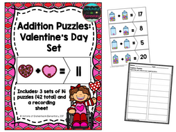 Addition Puzzles: Valentine's Day Set