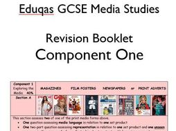 Eduqas GCSE Media Studies (9-1) Revision Booklet (16pp) for Component 1 with tips and exam tasks