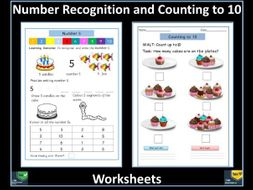 counting to 10 and number recognition free worksheets by krazikas teaching resources. Black Bedroom Furniture Sets. Home Design Ideas