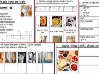 Pancake Day, Mardi Gras: 4-pg French wkbk+ crossword, vocab list + crwd solution