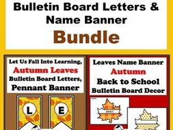Leaves Theme Bulletin Board Letters & Name Banner Bundle