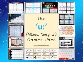 The Mixed 'u:' (long u) Phonics Games Pack