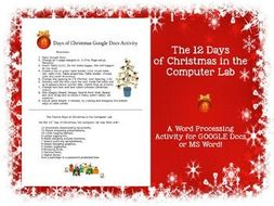 the 12 days of christmas in the computer lab activity for google docs ms word