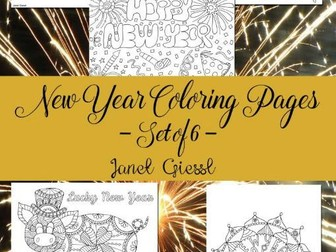 New Year Coloring Pages - Set of 6