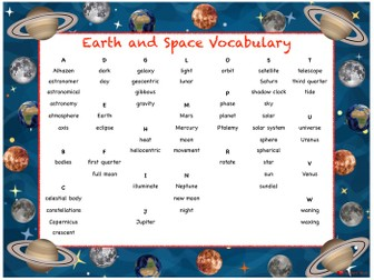 Earth and Space Vocabulary Mat