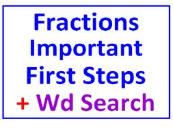 Fractions Important First Steps PLUS Fractions Word Search Puzzle