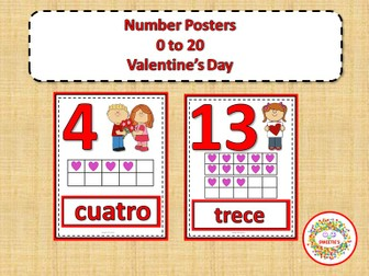 Number Posters 0 to 20 with Ten Frames - Valentines - Spanish