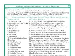 Holidays and Festivals Around the World Explanation-Definitions