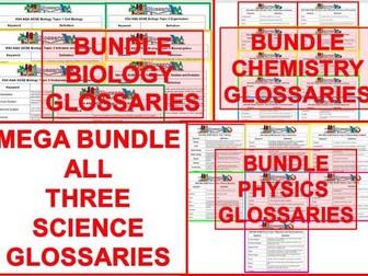MEGA BUNDLE KS4 AQA GCSE Glossaries Complete Set of Biology Chemistry and Physics (Combined/Single)