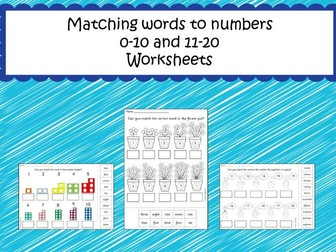 Matching words to numbers up to 20