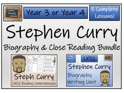 LKS2 Literacy - Stephen Curry Reading Comprehension & Biography Bundle