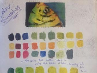 Watercolour techniques fish painting lesson KS3