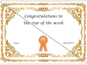 Star of the Week Cerificate